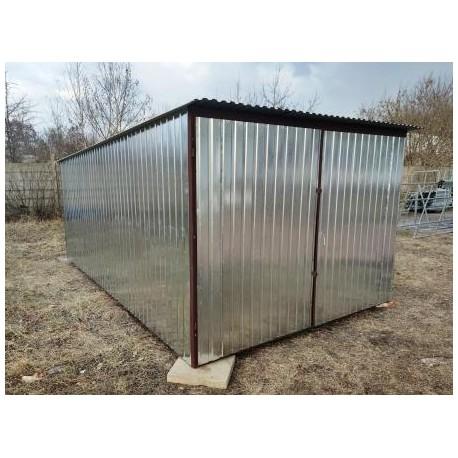 Garaż blaszany 3x2 Ocynkowany brama dwuskrzydłowa dach jednospadowy